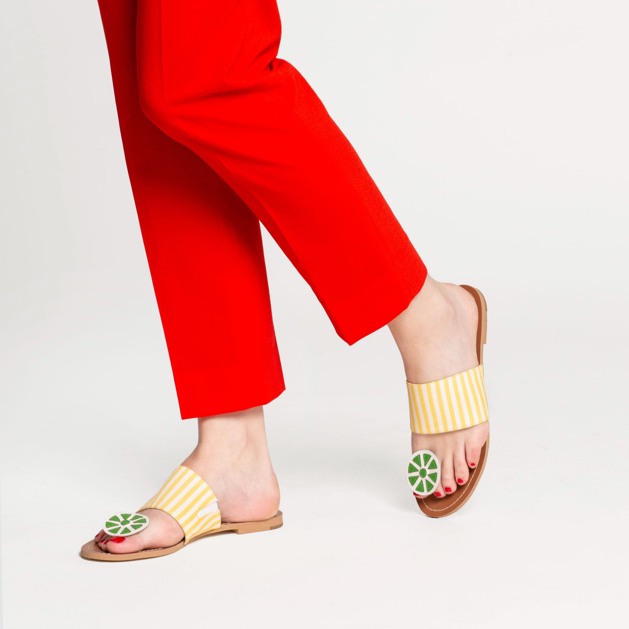 Clementine Citrus Sandals Black Yellow
