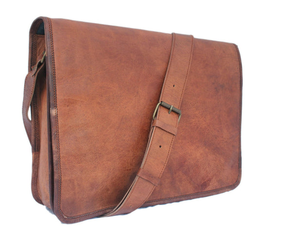 Vintage Leather Messenger Bag 15""