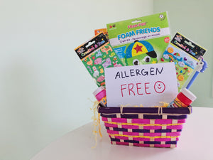 Gift basket with allergen free treats.