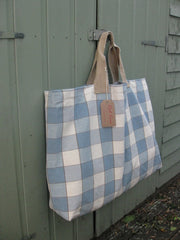 Large Blue/cream Canvas tote bag-SOLD