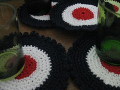 Hand crocheted 'Target' coasters- Price is for 2 x Coasters-