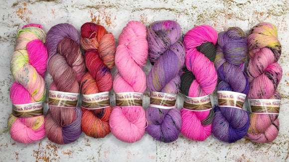 pink purple hand speckled yarn