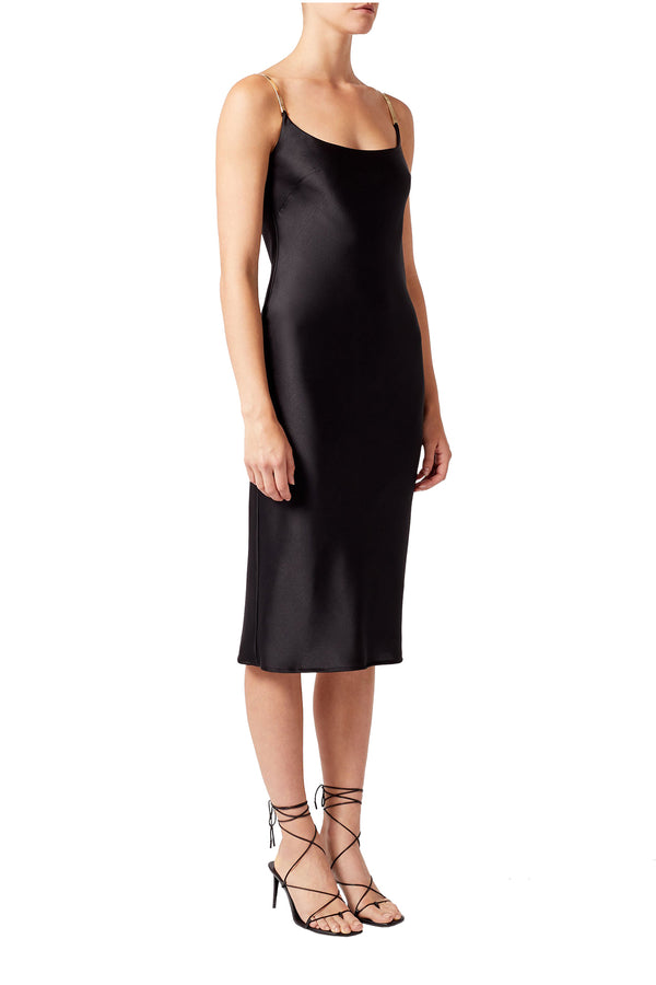 Black satin knee-length chain strap dress by Galvan London