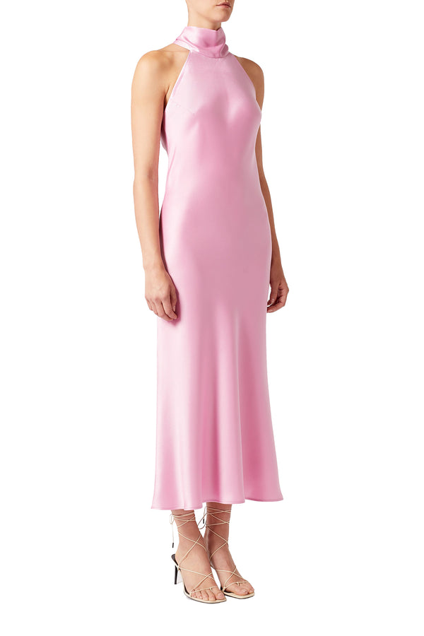 Rose Cropped Satin High Neck Dress by Galvan London