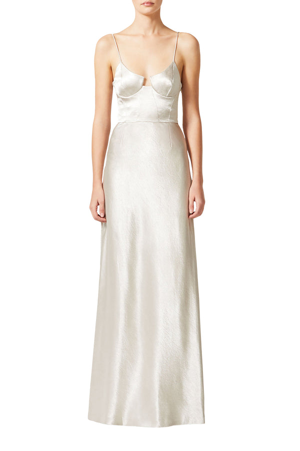 Platinum full-length evening dress with bodice by Galvan London