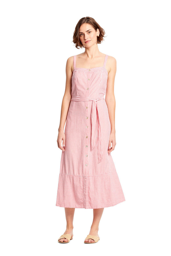 Pink striped Raina Button Front Dress by Michael Stars