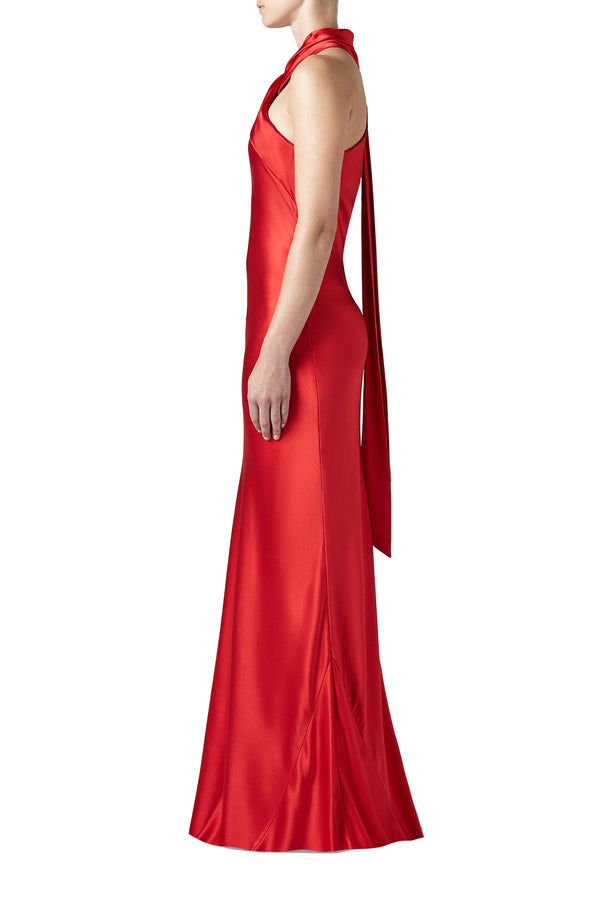 Red satin gown with cascading halter sash by Galvan London