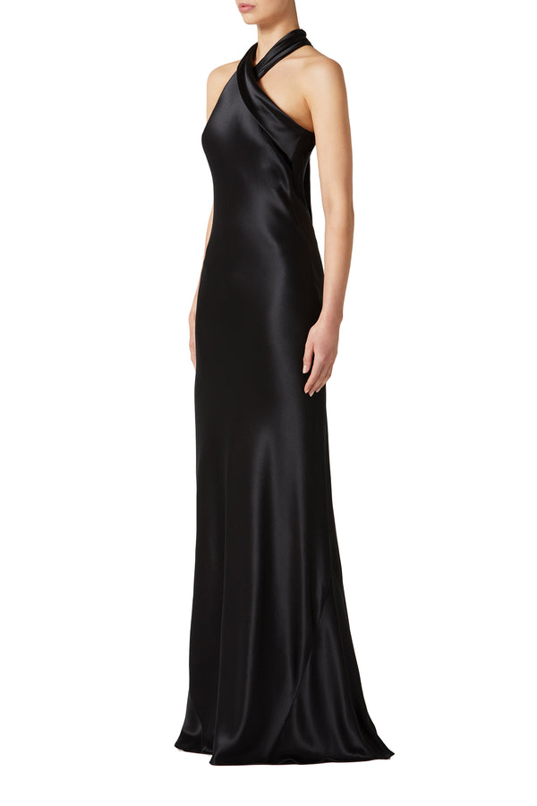 Black satin gown with cascading halter sash by Galvan London
