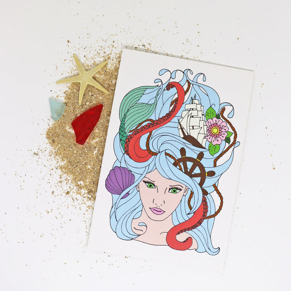 8x10 art print of The Salty Life Co.'s Sea Goddess drawing. Surf art for your laid back beach house vibe.