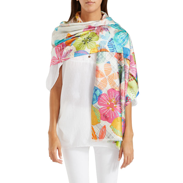 The Gia Reversible Silk Floral Shawl