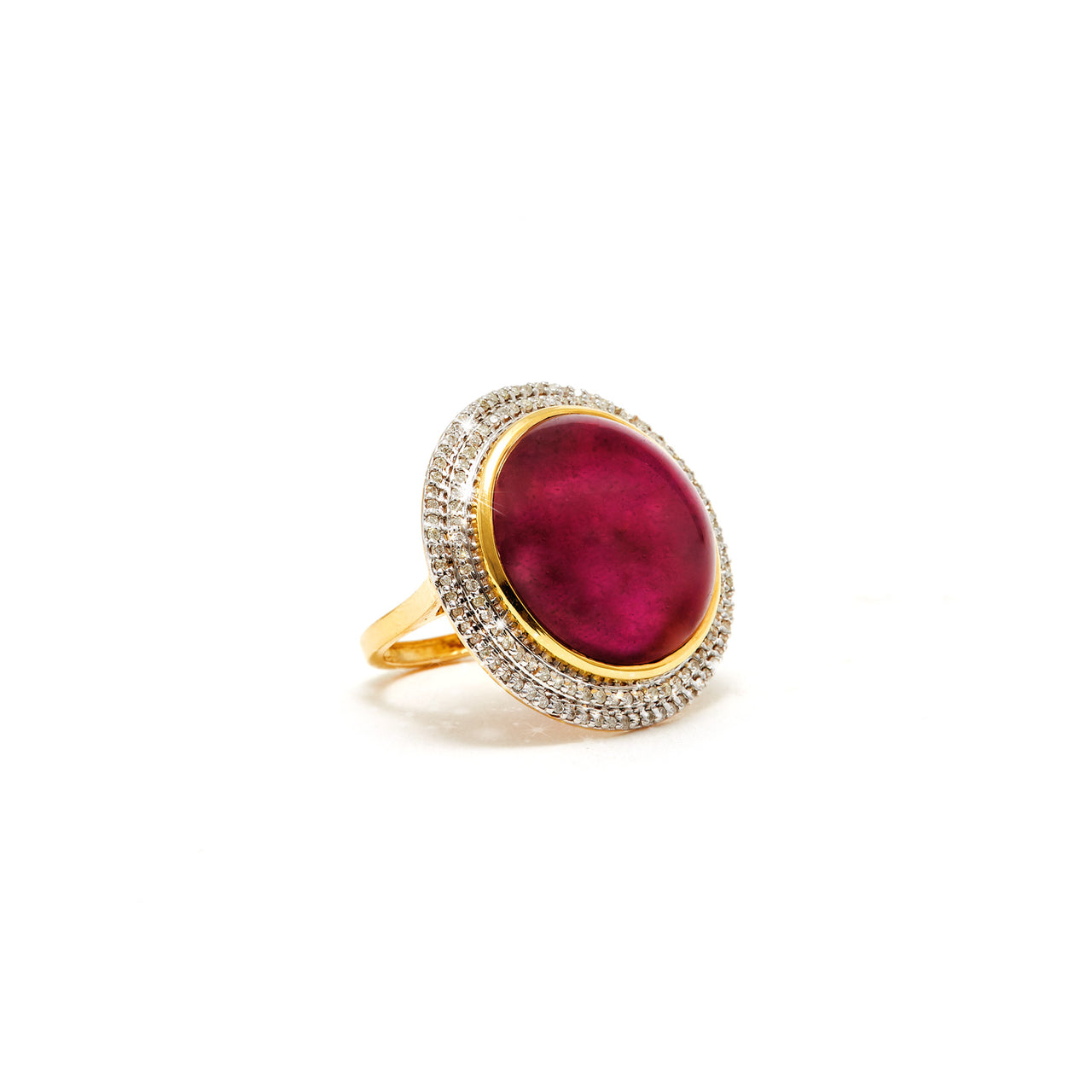 Ruby Brilliant Fire Disc Cocktail  Ring