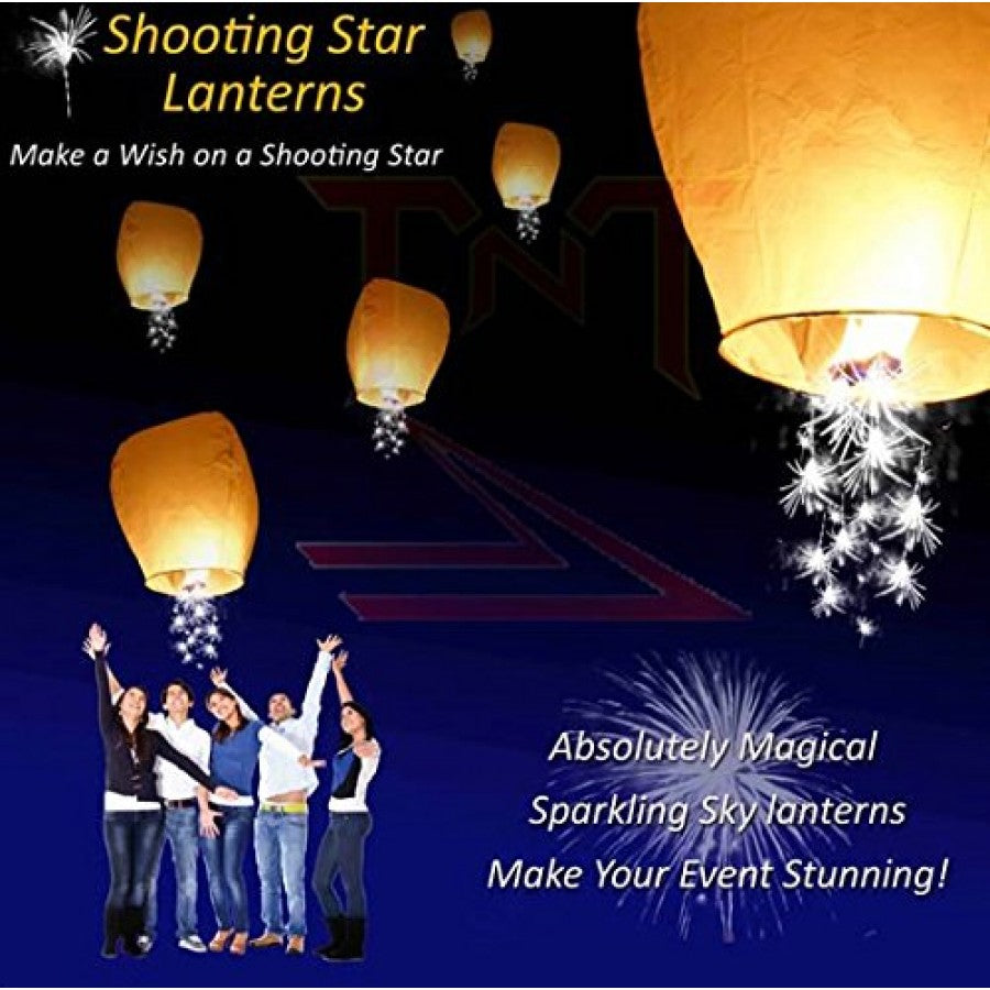 Shooting Star Sky Lanterns - Assorted Colors - 10 Pack