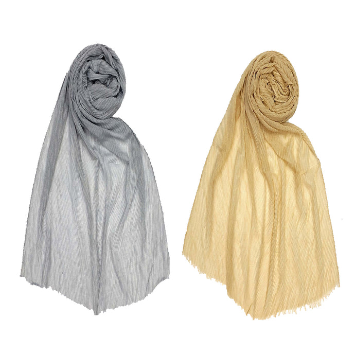 Premium Mesh Pleated Stoles- Pack Of 2