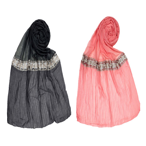 Designer Lace Crush Stole- Combo pack