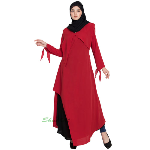 Elegant dress abaya with contrast layer