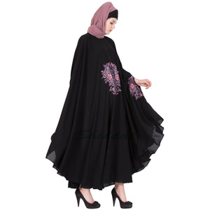 Embroidered Irani kaftan- Black-Mauve