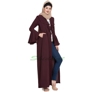 Long Cardigan- Wine color