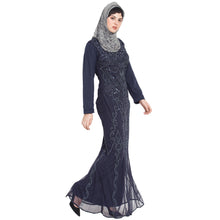 Load image into Gallery viewer, Designer embellished party wear Gown- Navy Blue