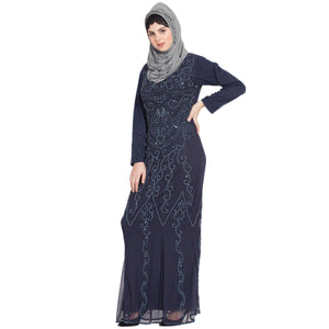 Designer embellished party wear Gown- Navy Blue