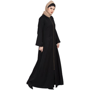 Front open Winter abaya with zipper- Black