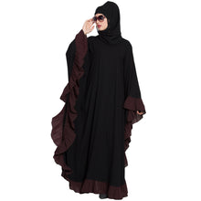 Load image into Gallery viewer, Designer kaftan abaya with Ruffled border- Black