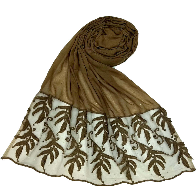 Designer Leaf Cotton Stole- Gingerbread Brown
