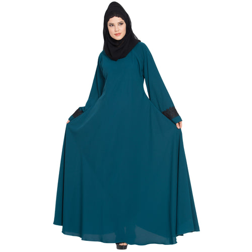 Umbrella abaya with lacework on sleeves- Teal