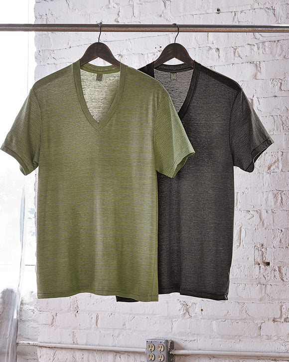 Eco-Jersey? Feeder Stripe V-Neck T-Shirt