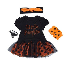 Load image into Gallery viewer, Halloween Costume Newborn One-pieces Short Sleeve Pumpkin Baby Bodysuit+Leg Warms+Headband 3pcs Baby Products For 0-24M