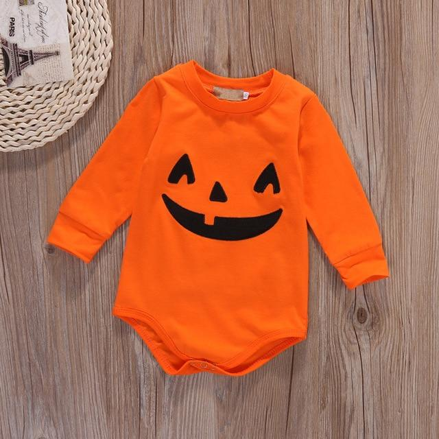 Halloween Baby Cotton Romper Newborn Baby Girl Boy Long Sleeve Romper Fall Pumpkin Body Suit 2017 New Halloween Costume Outfits