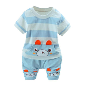 Kids Boys Girls Cartoon Suit Summer Clothes Sets Short Sleeve Tops Shorts 2 pcs Sets Children 0-36 Month Baby Costume