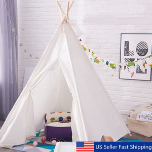 Teepee Play Tent White Cotton Children Playhouse