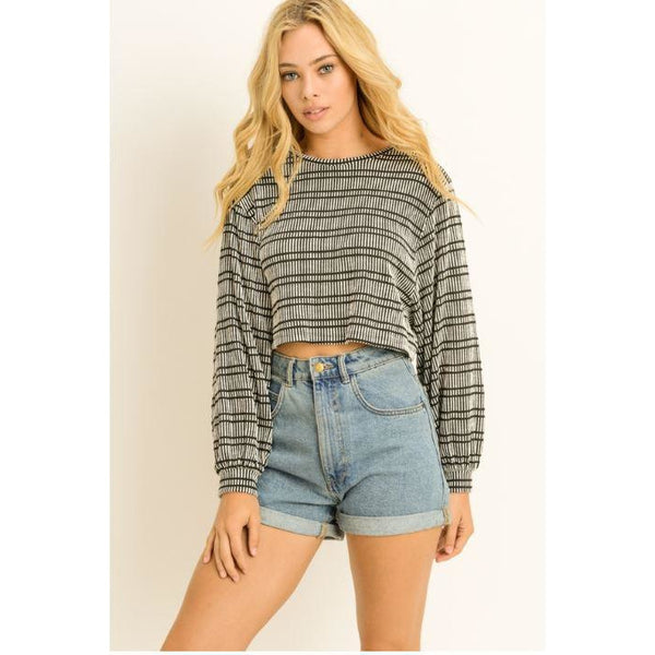 Striped Long Sleeve Cropped Top Balloon Sleeves