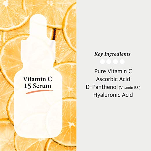 Vitamin C Serum 30ml Ascorbic Acid 15% + Panthenol - Korean Skin Care for Fades Age Spot