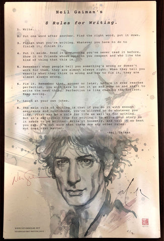 Neil Gaiman's 8 Rules for Writing Print, signed by Neil Gaiman & David Mack!