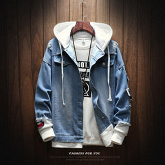 Men's Hooded Casual Denim Jacket