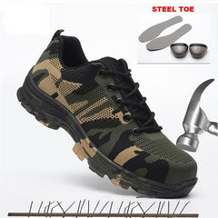 Unisex Safety Shoes Men Work Boots Camouflage Steel Toe