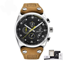 Men's Luxury Waterproof Sport Watches With Leather Band