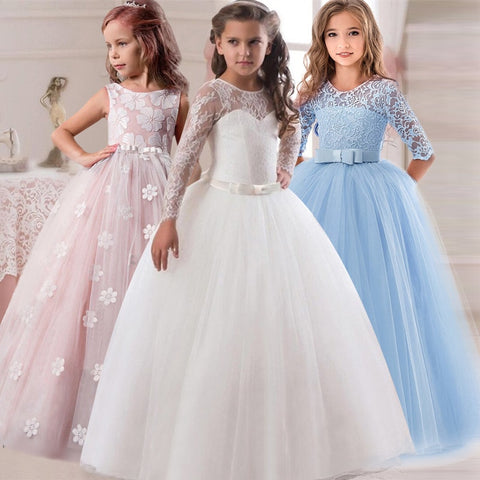 Flower Girl's Birthday Banquet Long Sleeve Lace Stitching Dress - Zalaxy