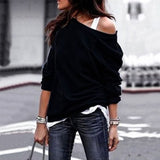 Loose Black Pullover Tops