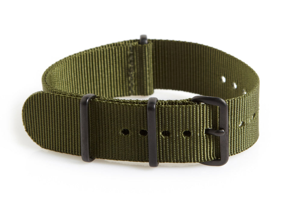 20mm Olive NATO Military Watch Strap with Covert Non Reflective Black PVD fittings