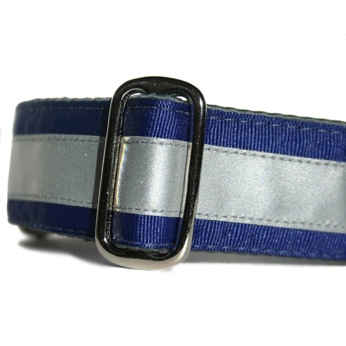 Reflective Navy Blue ID Tag Collar