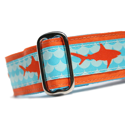 "1.5"" wide satin-lined orange shark buckle dog collar by Classic Hound Collar Co."