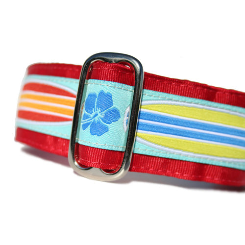 "1.5"" wide satin-lined red tropical surf buckle dog collar by Classic Hound Collar Co."