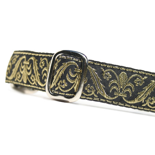 "1"" wide satin-lined metallic gold on black wedding martingale dog collar by Classic Hound Collar Co."