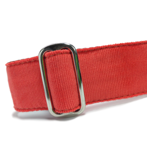 Corduroy Persimmon Red ID Tag Collar