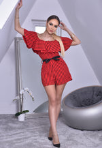 Maggie Red Pinstripe Bardot Frill Playsuit