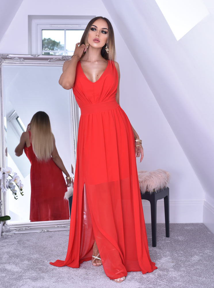 Crystal Red Woven V Neck Back Shirred Maxi Dress