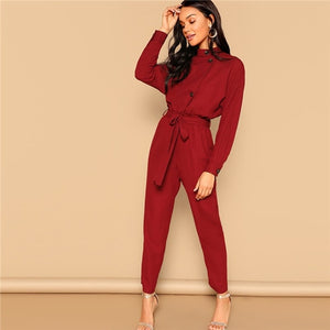 Red Highstreet Jumpsuit - Sotra Fashion