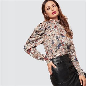 Vacation Mock Neck Puff Sleeve Botanical Pleated Blouse 2019 Spring Stand Collar Women Long Sleeve Tops And Blouses - Sotra Fashion